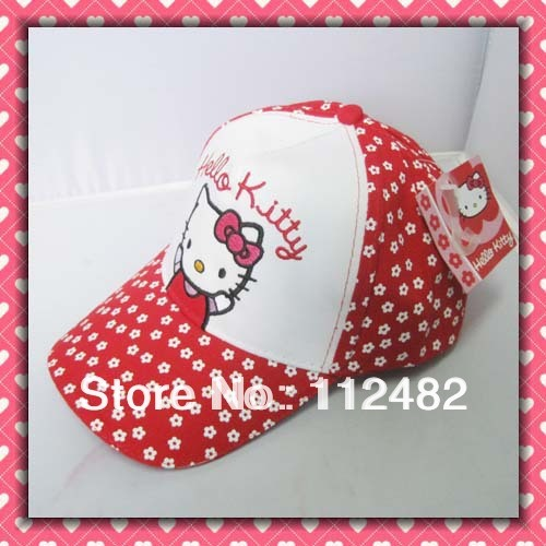 Free shipping Hello kitty Children's Hats baseball cap sun hat red & white