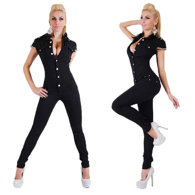 b2b550e0b5 Online Shop Autumn Fashion Women Denim Long Jumpsuit Sexy Deep V Neck Jean  Jumpsuits Buttons Chain Black Overalls For Women Rompers KH819734