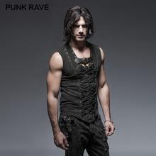 PUNK RAVE Black Punk Rock Cotton Leather Belt Sleeveless Man Tank Tops Steampunk  Casual Vest Goth Tanks Tops Body Casual