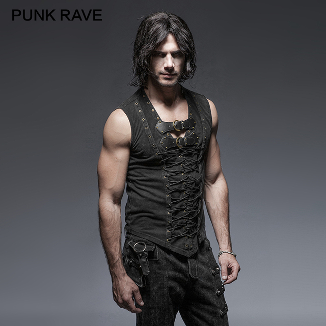 Punk Rave Black Punk Rock Cotton Leather Belt Sleeveless