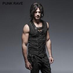 PUNK RAVE Nero Punk Rock In Pelle di Cotone Cintura Senza Maniche Serbatoio Uomo Magliette e camicette Steampunk casual Maglia Goth Serbatoi Magliette e camicette Corpo casual