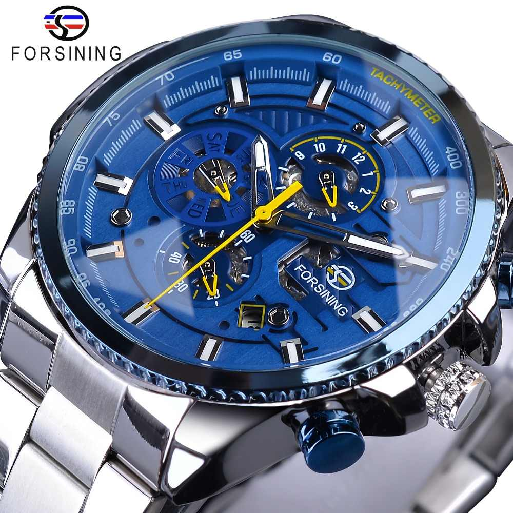 Forsining Blue Ocean Design Silver Steel 3 Dial Calendar Display Mens Automatic Mechanical Sport Wrist Watches Top Brand Luxury