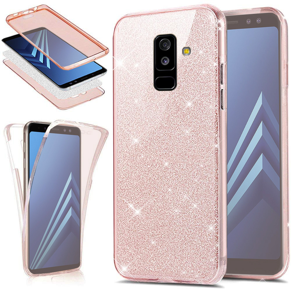 Glitter <font><b>360</b></font> Full Protection Silicone <font><b>Case</b></font> for Coque <font><b>Samsung</b></font> <font><b>Galaxy</b></font> A7 2018 J4 <font><b>J6</b></font> J8 A7 A3 A5 2017 A6 A8 S6 S7 S8 S9 Plus Funda image