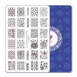 CICI&SISI China Style Nail Art Stamping Plates Stamping Stamp Template Accessories Blue-and-White Theme 01-04