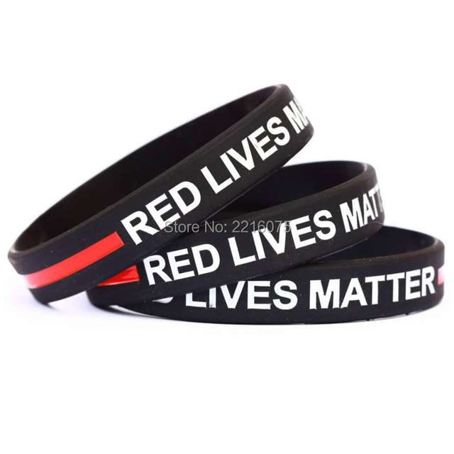 300pcs Red Lives Matter With Thin Line Silicone Wristband Rubber Bracelets Free Shipping By Dhl