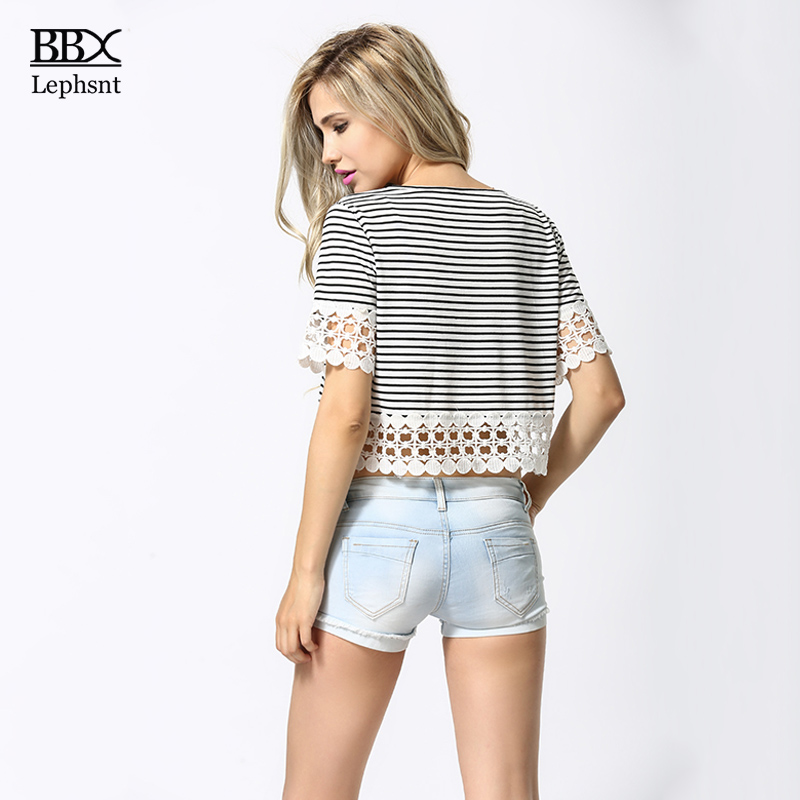 BBX Lephsnt Sexy Lace Striped Women T shirt Cotton 2018 Summer Top Casual Lace Patchwork Hollow Out Short Sleeve T Shirts B84058