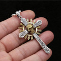 2016 Hot Sale 100% 925 sterling silver necklace pendant for men or women Punk skull inlaid copper Cross Pendants jewelry GP47