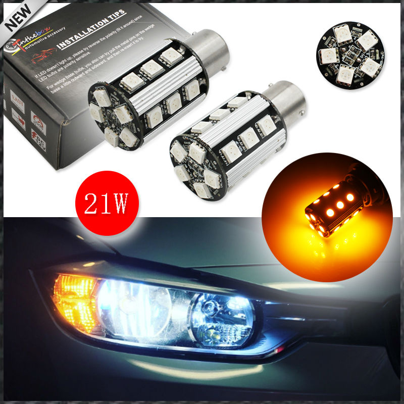 (2) No Resistor, No Hyper Flash 21W High Power Amber BAU15S 7507 PY21W 1156PY LED Bulbs For Car Front or Rear Turn Signal Lights ijdm no hyper flash 21w high power amber bau15s 7507 py21w 1156py led bulbs for car front or rear turn signal lights canbus 12v