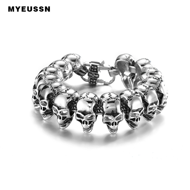 Classic Biker Skeleton Heavy 316L Stainless Steel Silver Black Men Bangles Fashion Hip Hop Style Father's Day Jewelry Gift