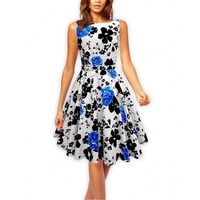 Sexy Women S Vintage 50s 60s Floral Rockabilly Tutu Pinup Sleeveless Bodycon Evening Party Clubwear Formal