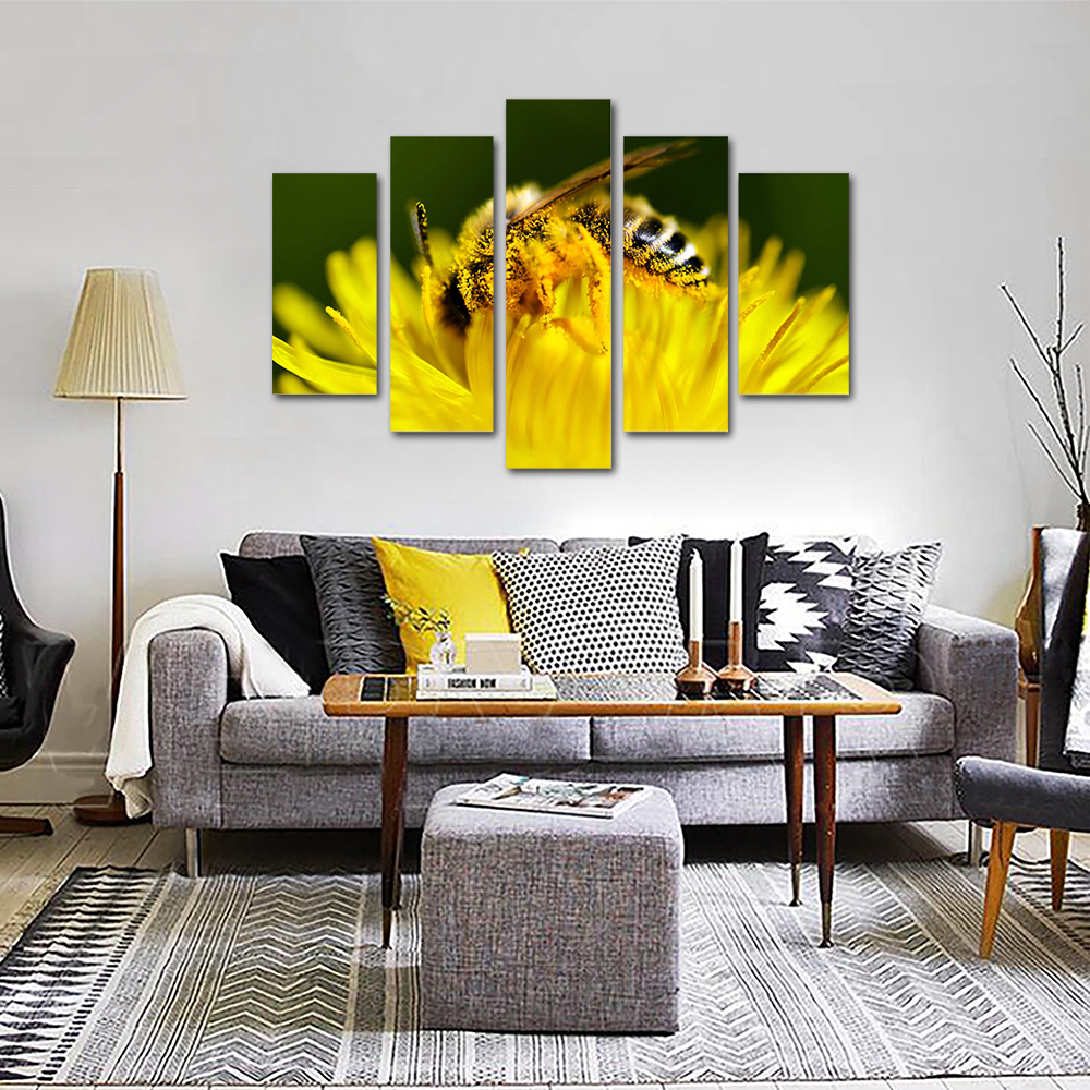 Unframed HD Print 5 Canvas Art Painting Bee Collecting Honey Living Room Decoration Spray Painting Mural Free Shipping
