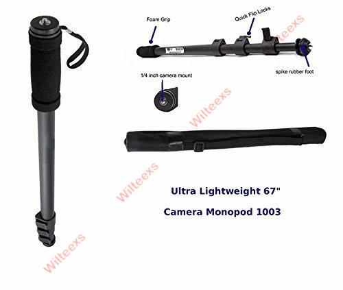 WILTEEXS Tripod Monopod WT1003 Camera Tripod Lightweight 67″ Camera Stand For Canon Eos Nikon Sony Fuji Olympus All DSLR