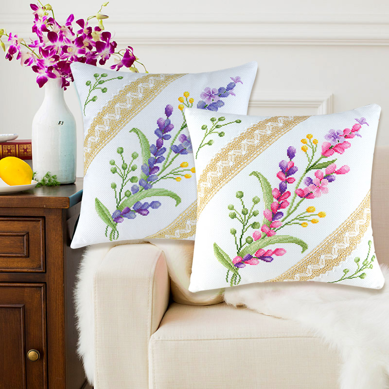 SewCrane Cushion Cover Stamped Cross Stitch Kit Throw Pillow Kit,Purple Wildflower Pink Flowers, 18inch