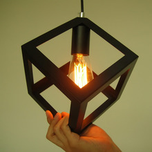 Vintage Retro Pendant Lights LED Pendant Lamp Metal Cube Cage Lampshade Lighting Hanging Light Fixture