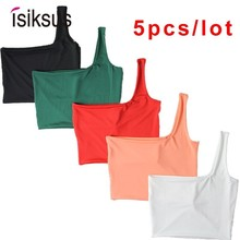 Isiksus 5pcs/lot Summer White Crop Top Women Sexy Femme Off Shoulder Top Cropped For Women Midriff Sleeveless Tank Tops TT009 sexy midriff baring tops