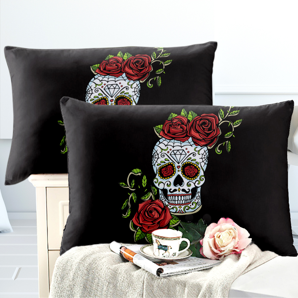 Sweet Sugar Skull Pillowcase Rose Flowers Print Pillow Case Bedroom Pillow Cover Soft Bedclothes Bedding Home Textile D30