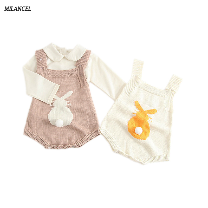 MILANCEL 2017 Spring Baby Rabbit Rompers Infant Sweet Knitted Overalls Bunny Baby Jumpsuit Toddler Baby Girls Boys Clothing iyeal baby girl clothing spring 2017 bebe jeans overalls lace rompers infantil jumpsuit for toddler infant denim coveralls