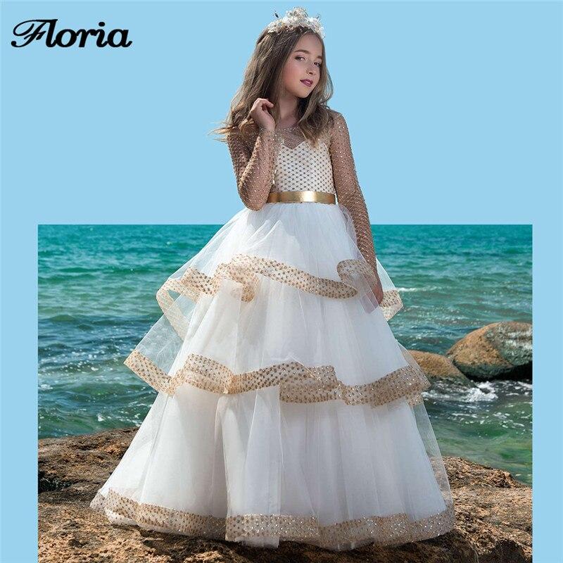 Vestido daminha gold flower girl dresses for wedding beaded kids ...