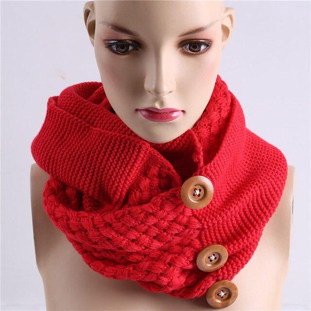 Moda invierno bufanda cálida 3 Botones tejer anillo bufanda collar ...