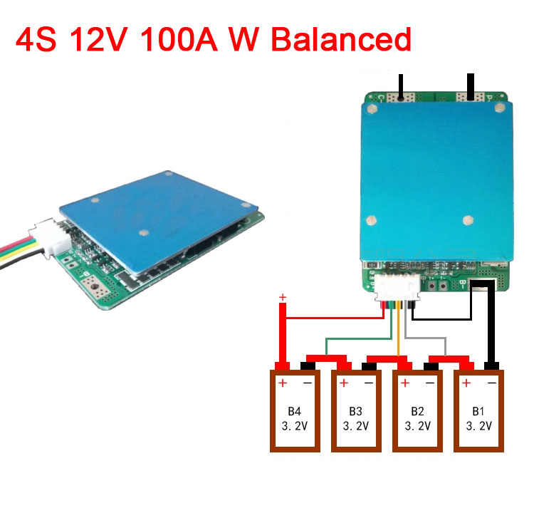 4S 12V 100A High Current Lifepo4 lithium BMS battery protection board W balanced CELL 12.8V balance FOR Car start Inverter