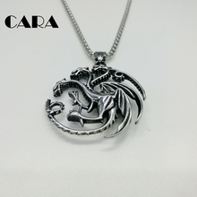 CARA New 316L Stainless steel 3 headed Dragon necklace mens Vintage fashion hip hop pterosaur chain wholesaler CARA0173