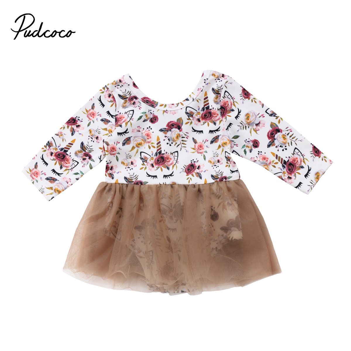 Newborn Toddler Baby Girls Cute Unicorn Floral Romper Bodysuit Tulle Dress Clothes Costumes 0-3T 2pcs set newborn floral baby girl clothes 2017 summer sleeveless cotton ruffles romper baby bodysuit headband outfits sunsuit