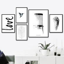 цена Chair Feather Bird Love Quote Wall Art Canvas Painting Nordic Posters And Prints Black White Wall Pictures For Living Room Decor онлайн в 2017 году