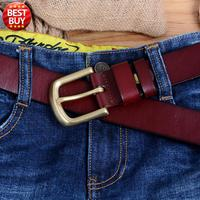 2017 new retro designer casual Genuine leather Luxury belt for jesns brand for men simple solid brass Pin buckle free shipping