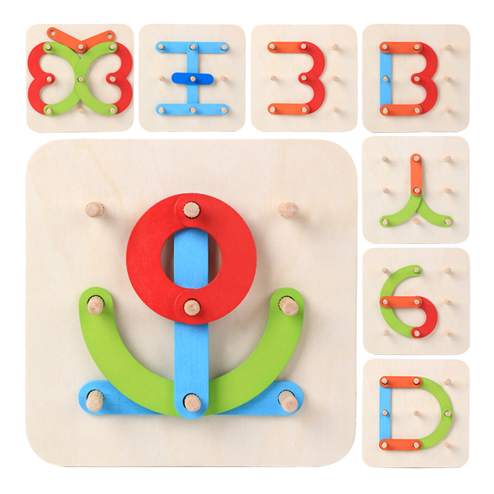 Wooden Letter Number Stacking Blocks Toy Set For Kid Teaches Numbers, Letter, Colors, Shapes Montessori Math Educational Toy