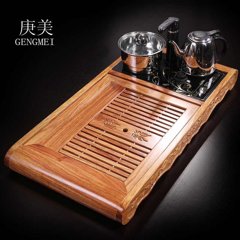 Beautiful wood rosewood tea tray Geng Kung Fu Tea cooker four in one tray factory direct sales factory direct italics opening film ru ru ceramic dragons kung fu tea logo customized gift boxes