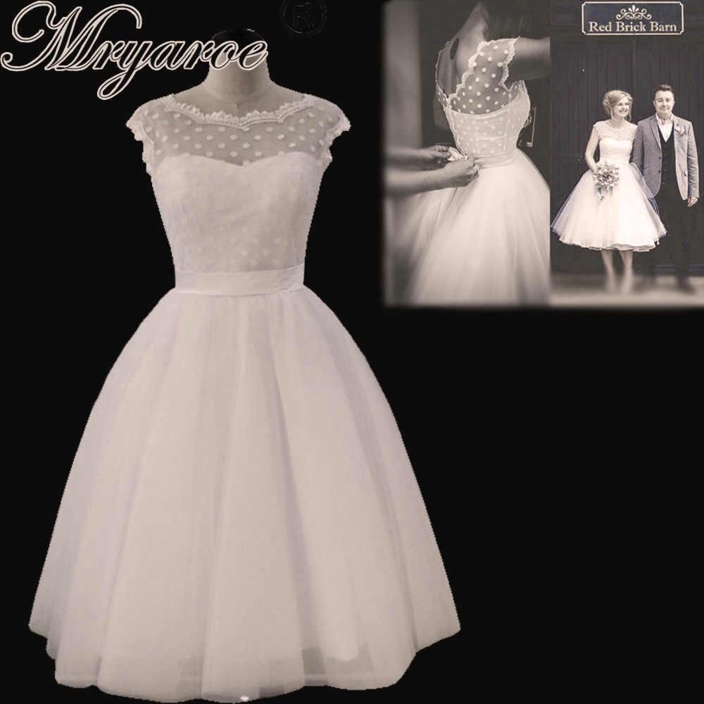 Mryarce Vintage Retro 1950s Polka Dot Tulle Short Wedding Dress With Bow  Back Tea Length Little f4977364ec9f