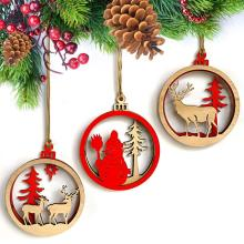 3pcs Wooden 3D Christmas Snowman Elk Small Pendants Ball Tree Hanging Decor Decoration