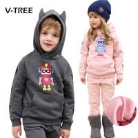2016 Autumn Winter Baby Girls Boys Clothing Set Children Kids Hoodies Pants Thicken Warm Fleece Clothes