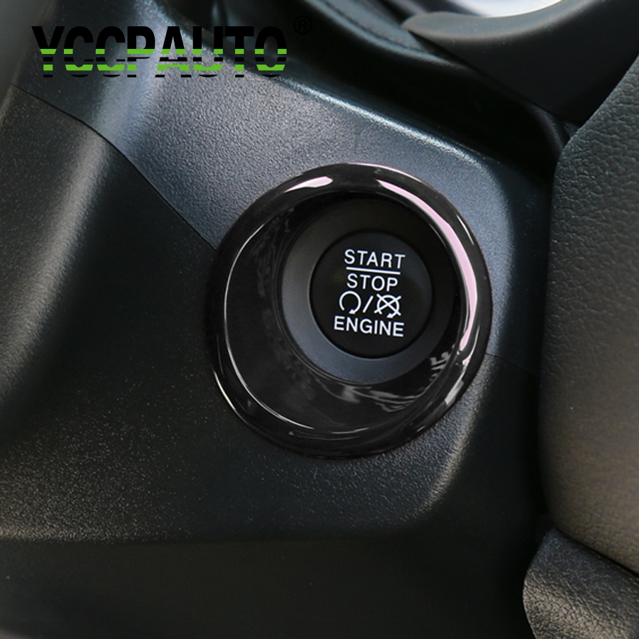 Car Styling For Jeep Compass 17+ Engine Start Stop Push Button Key Hole Switch Ring Sticker Cover Trim Carbon Fiber Black Silver