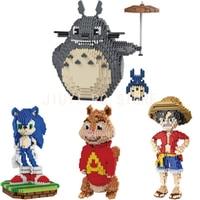 Mini Qute BALODY Huge Cartoon Red Birds Mermaid Luffy Totoro Mario Building Blocks Brick Action Figures