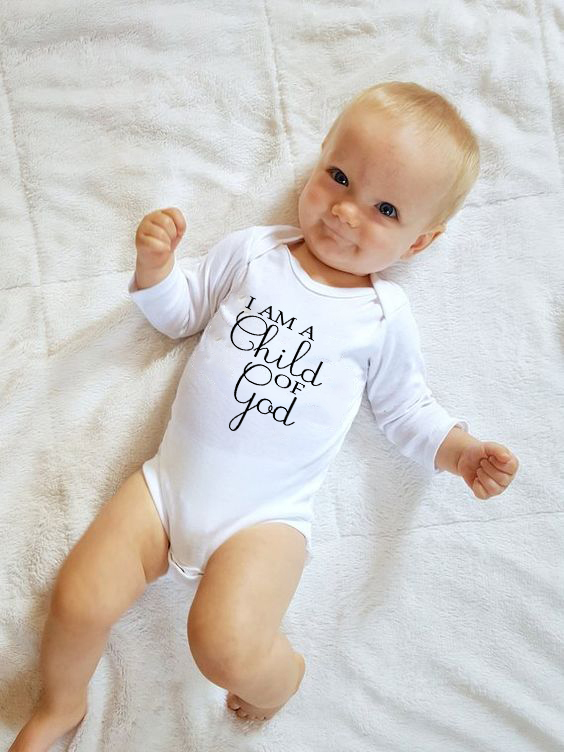 I Am A Child Of God Letter Print Newborn Infant Baby Girl Boy Long Sleeve Romper Cotton Jumpsuit Playsuit Outfits Clothes