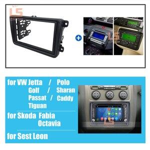 Image 2 - Auto Dubbel Din Frame Radio Dashboard Dvd Dash Interieur Trim Voor Volkswagen Vw Touran Caddy Seat Voor Skoda fabia Octavia 2
