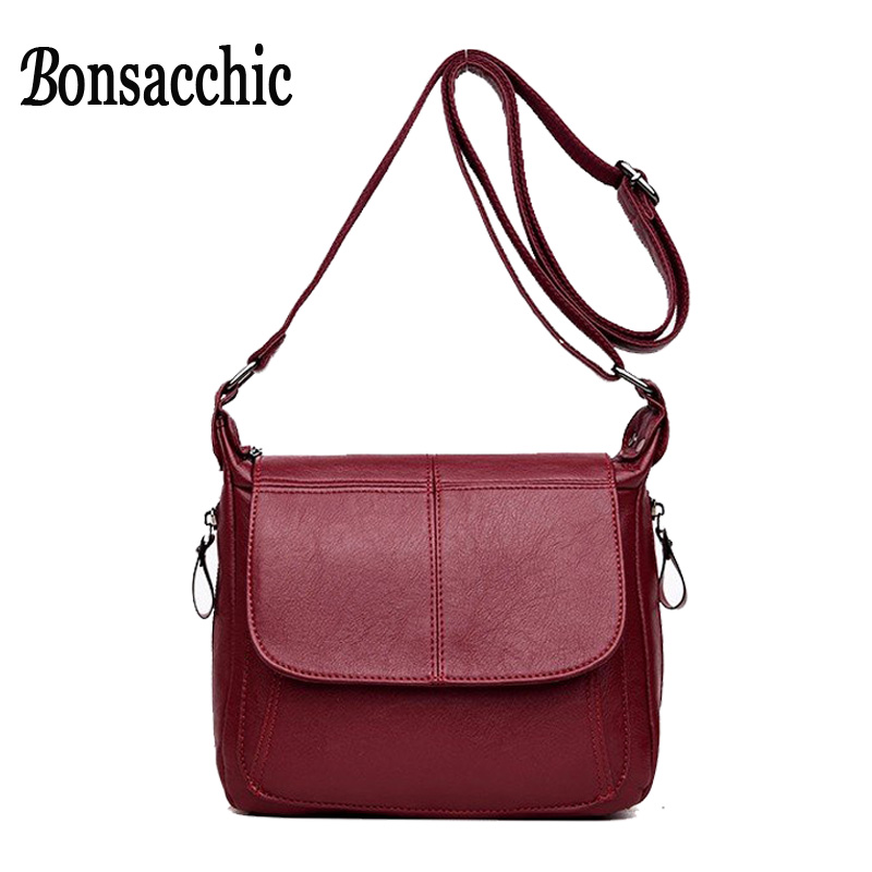 Bonsacchic Soft Leather Bags Women Shoulder Bag Small Luxury Brand Designer Fashion Flap Crossbody Messenger Bag Red/Black Purse