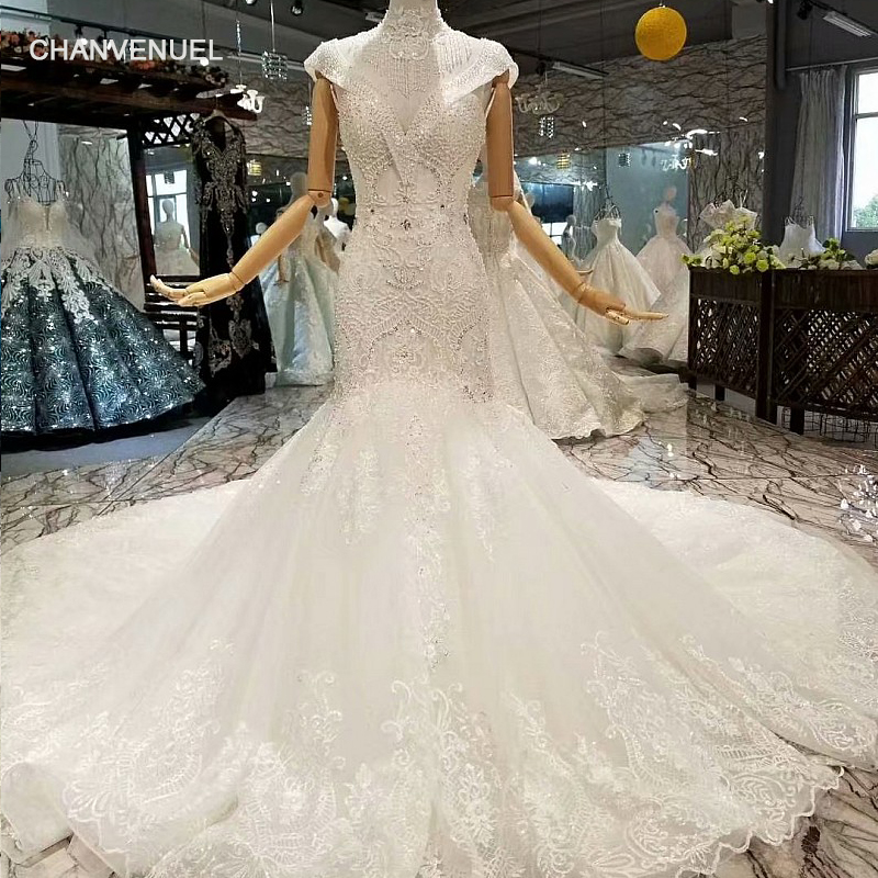 353e481c744 LS314741 sexy mermaid wedding gown with collar chain deep v-neck cap  sleeves trumpet wedding dress among 2018 best seller list