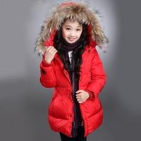 2016 Brand Hooded Girls Winter Warm Jackets Kid Long Sleeve Christmas With Fur School Cute Outerwear