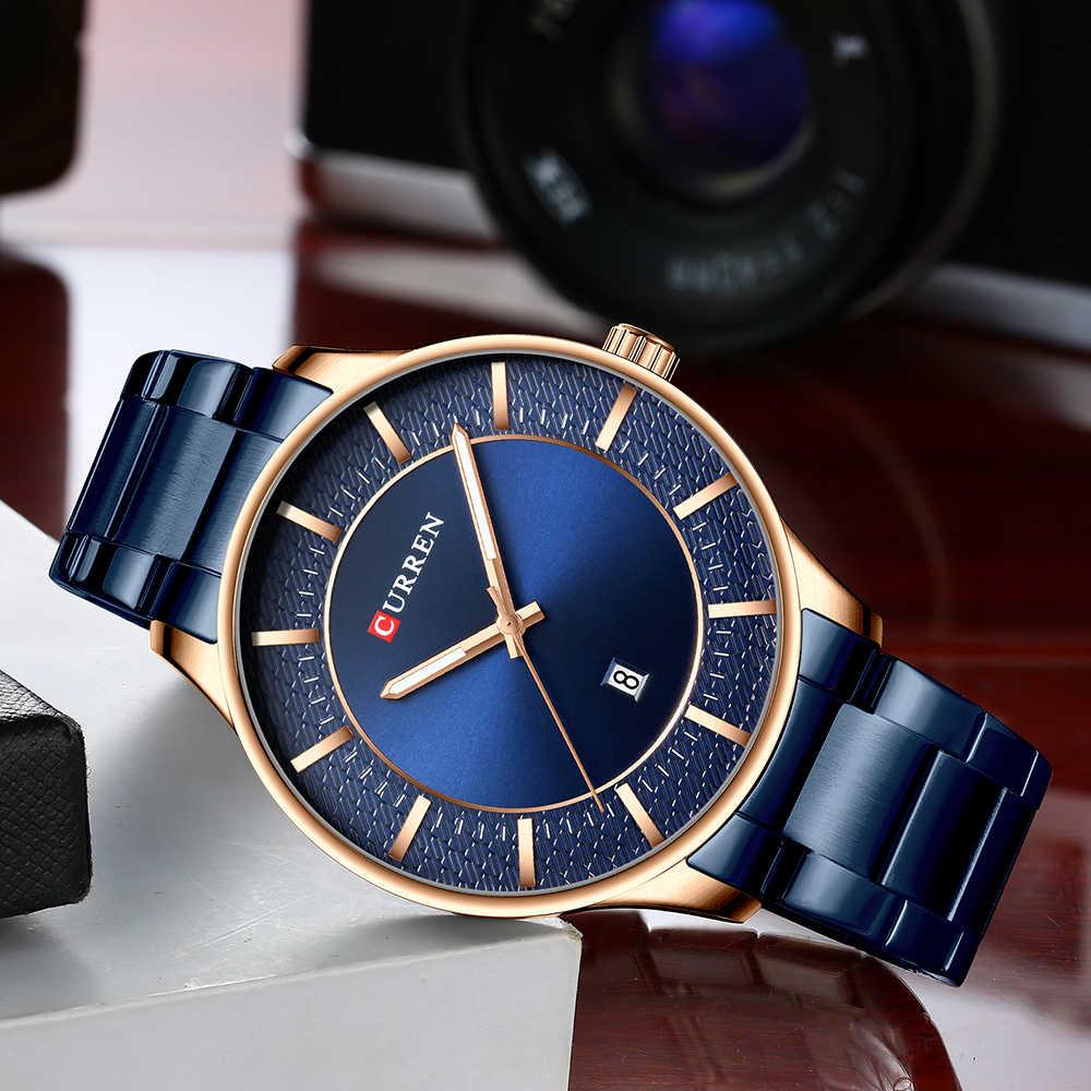 Curren גברים שעונים למעלה מותג יוקרה שעון גברים אופנה כחול קוורץ עמיד למים גברים של שעוני יד זכר שעון Relogio Masculino Reloj