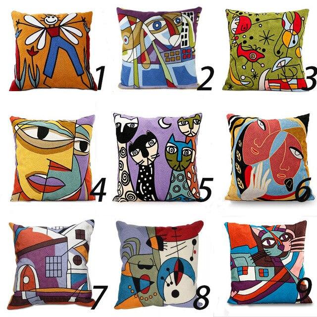 100% Cotone Stile Picasso Ricamato Piazza Pillow Case Divano Cuscino Per Sedia Auto Cuscino Caso 45x45 cm senza Ripieno