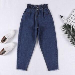 Image 3 - Genayooa Pencil Jeans 여성 플러스 사이즈 여성용 하이 웨이스트 보이 프렌드 청바지 신축성있는 허리 바지 루즈 한 빅 사이즈 청바지 여성
