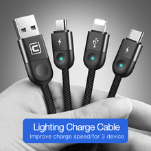Cafele LED Light 3 in 1 USB Charging Cable Micro USB Type
