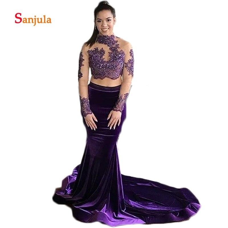 Purple Velvet Two Pieces   Prom     Dresses   2019 Girls Graduation   Dress   Long Sleeve Appliques Sequins Backless Evening Gowns D469