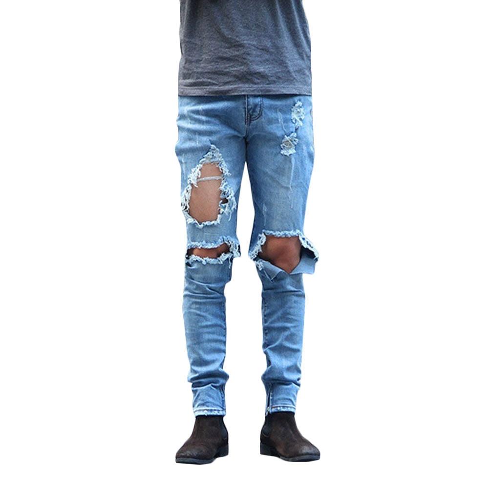 New Large Holes Vintage Jeans Pants Men Han Tide Straight Summer Long Denim Jeans Girls Korean Style Denim Trousers