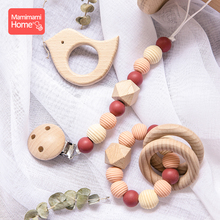 mamihome 3Pc/Set wooden silicone teether pacifier chain Food Grade perle Silicone beads baby Rattle toy beech rodent toys