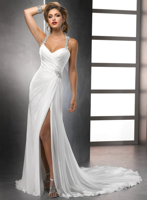 Casual Style White Chiffon Front Silt Backless Vestidos De Noiva Sexy Beach Wedding Dresses 2016 Bridal Gowns Sweep Brush Train