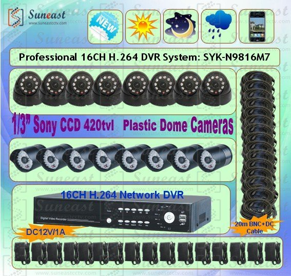 Freeshipping 16CH CCTV DVR Security System 16 CCD IR waterproof CAMERA