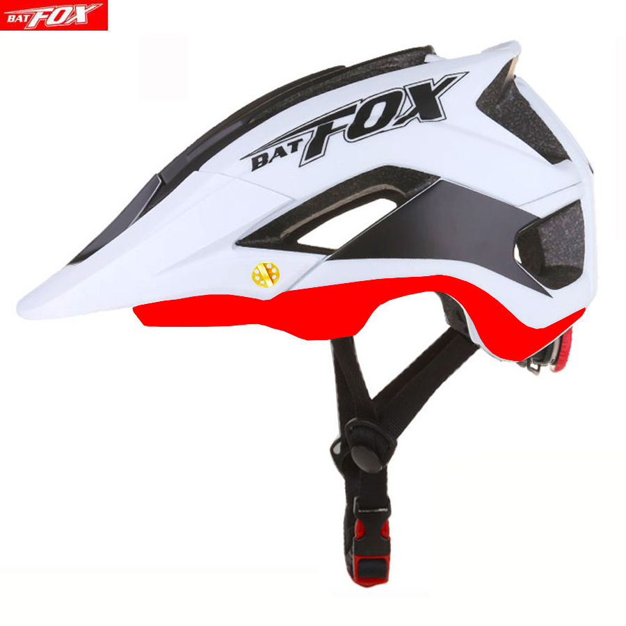 BATFOX Bicycle Helmet Red Road Mountain Cycling Helmets Integrally-molded CE MTB With Sun Visor Men Women Ultralight Bike Helmet